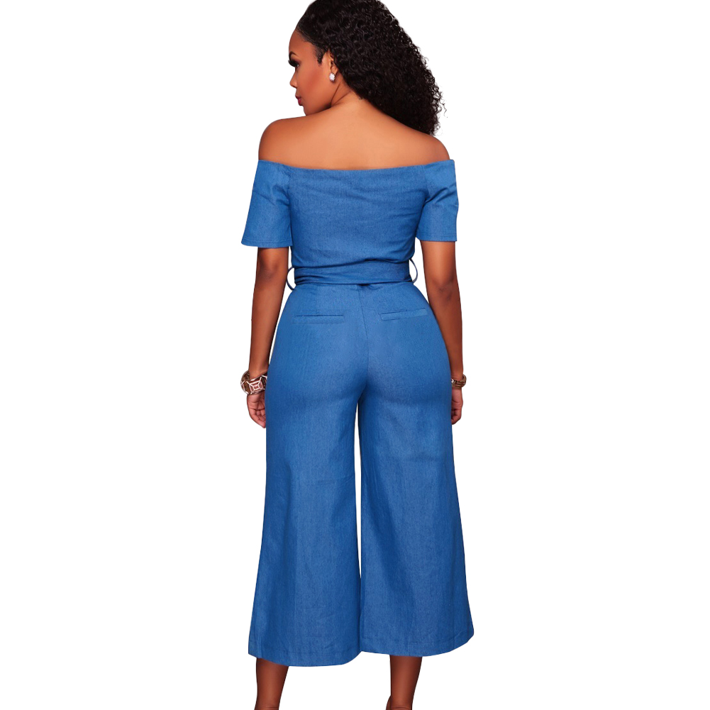 8c015edfa866 Women Off Shoulder Sexy Playsuit female Wide Leg Jumpsuit Slash Neck Zipper  Front Belted High Waist