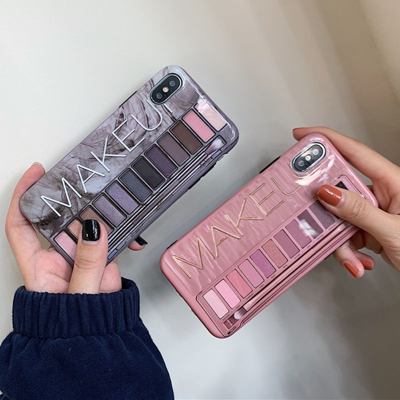 <font><b>Makeup</b></font> Eyeshadow Palette phone <font><b>Case</b></font> For <font><b>iphone</b></font> 11 11 Pro XS Max XR X XS 6 6s 7 8 plus glossy soft silicone Protection Back cover image