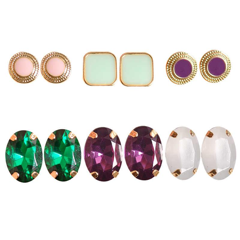 Hot Fashion women jewelry wholesale Girls Birthday Party ear nail white purple green powder 6 on /set ear ring free shipping