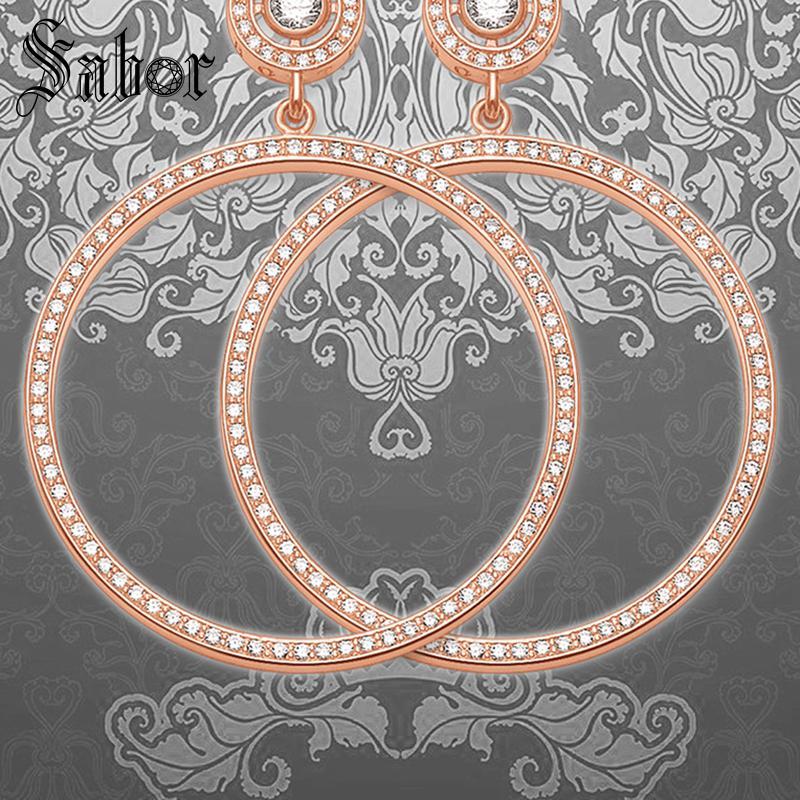Grande boucle d'oreille ronde de couleur or Rose, bijoux Brincos en zircone strass 925 cadeau en argent Sterling pour les femmes amant 2019 thomas