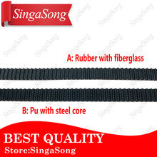 5M. 6mm PU with Steel Core Rubber fiberglass timing belt GT2 Belt Black Color 2GT open timing Belt 6mm Width 5M for 3d printer(China)