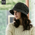 Lady Fashion Large Cap Wide Brim Women Fashion Denim Breathable Octagonal Cap Concise Decorative Lace Black Cap Basin Hat B-4570