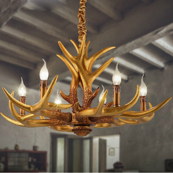 Gold Deer Antler Pendant Lights Fixture Vintage Dining Room Droplight Coffee Cafes Bar Pendant Lamps Restaurant Foyer Droplights