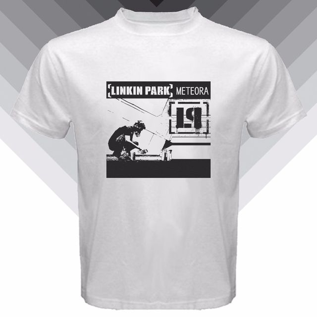 US $15 99 |New Linkin Park *Meteora American Rock Band Logo Cover Album  Men's White T Shirt-in T-Shirts from Men's Clothing on Aliexpress com |