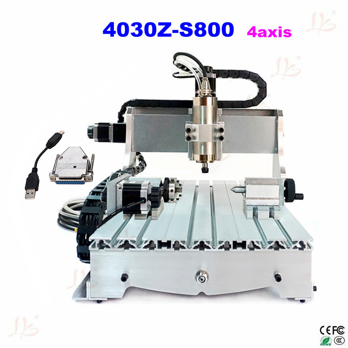 LY 4030Z-S800 4axis CNC Engraving Machine for PCB/wood metal working with USB adapter, free tax to Russia no tax to eu 220v cnc wood carving machine 4030 z 800w usb cnc router with 4axis for 3d article working