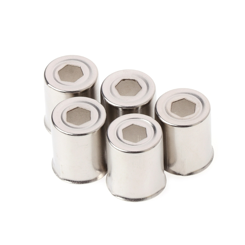 5Pcs/Set Steel Cap Microwave Oven Replacement Round Hole Magnetron Silver Tone