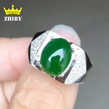 Natural green jasper men ring Genuine solid 925 sterling silver man gems rings stone fine jewelry