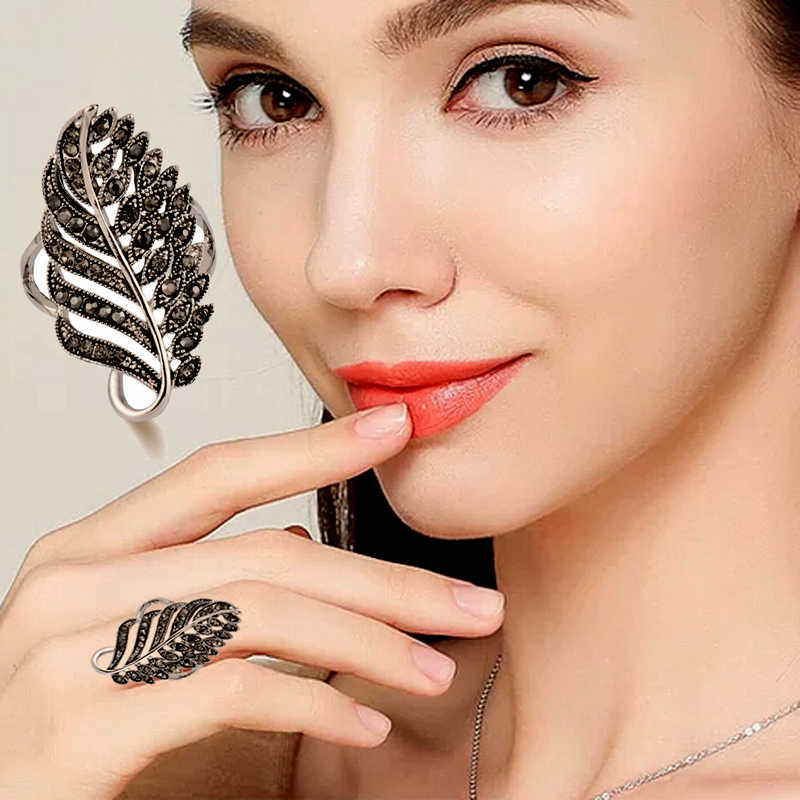 SINLEERY Vintage Leaf Shaped Black Stones Long Big Rings Antique Silver Color Jewelry For Women Wedding JZ012 SSB