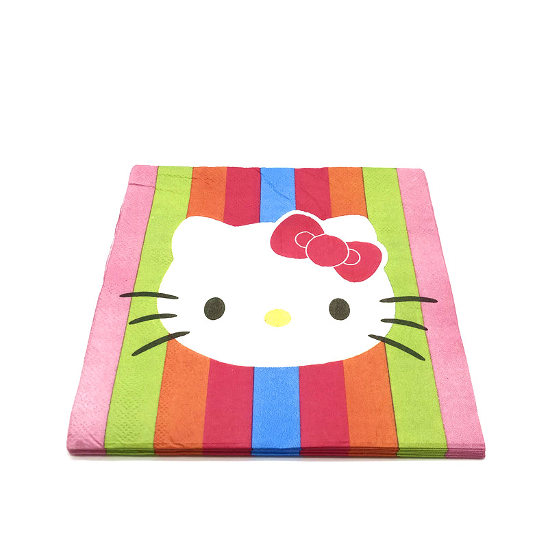 39d1ecb51 Hot Sale Hello Kitty Theme Disposable Napkins Wedding Kids Birthday Party  Supply Paper Tissue Family Party Supply 10pcs/lot