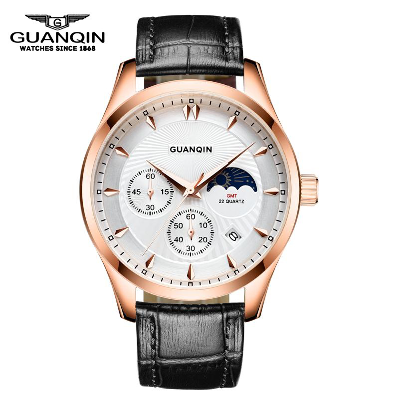 GUANQIN GQ80069 Moon phase GMT New Brand Men Quartz Watch Fashion Moon Phase Luminous Waterproof Resistant Sport Leather brand new original japan niec indah pt150s16 150a 1200 1600v three phase rectifier module