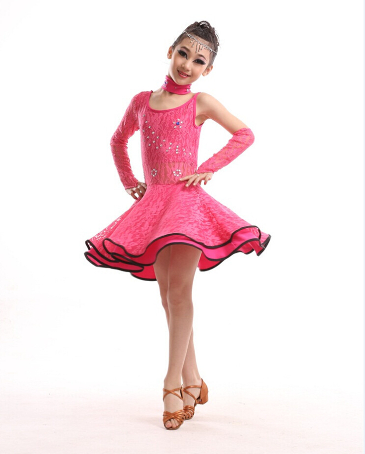 De manga larga de encaje diamante grande vestido de baile latino de ...