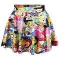 2016 nova Saia das mulheres plissado Adventure Time impressão dos desenhos animados 3D saias estilo verão Saia Faldas Plus Size Drop Shipping Hot