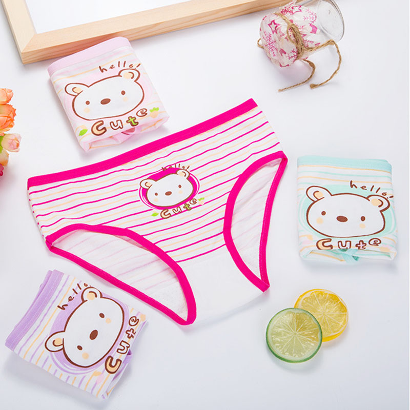 4pcs/Lot Cotton Girls Panties Cute Cartoon Kids Briefs Cat Female Child Underwear Lace Underpants Calcinha Panty Baby 2-10Year
