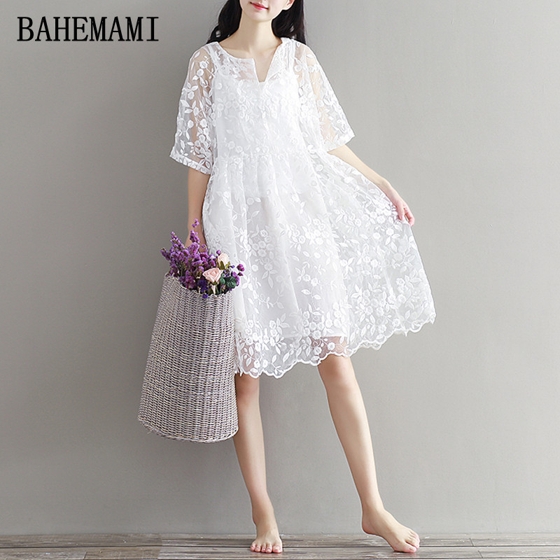 BAHEMAMI 2018 NEW maternity clothing summer twinset lace maternity one-piece dress white embroidery maternity dress For Pregnant maternity clothing spring twinset lace fairy princess wedding one piece dress white embroidery dress full dress summer
