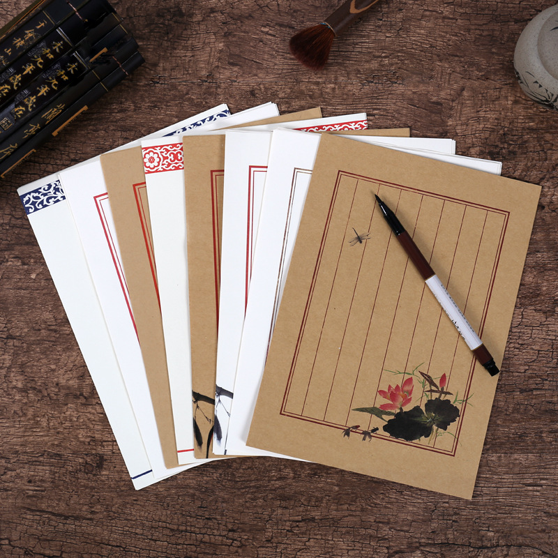 8pcs/lot Kraft Vintage White Color Flower Animal Bird Letter Paper Set Stationery Letter Pad For School Office