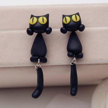 Kswlkj Boucles d oreilles en argile de polym/ère faites main originales avec des chats et des chats