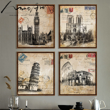 Póster vintage retro Londres Italia Roma Big Ben Notre Dame Catedral 4 piezas lienzos de pintura impresos imágenes para sala de estar