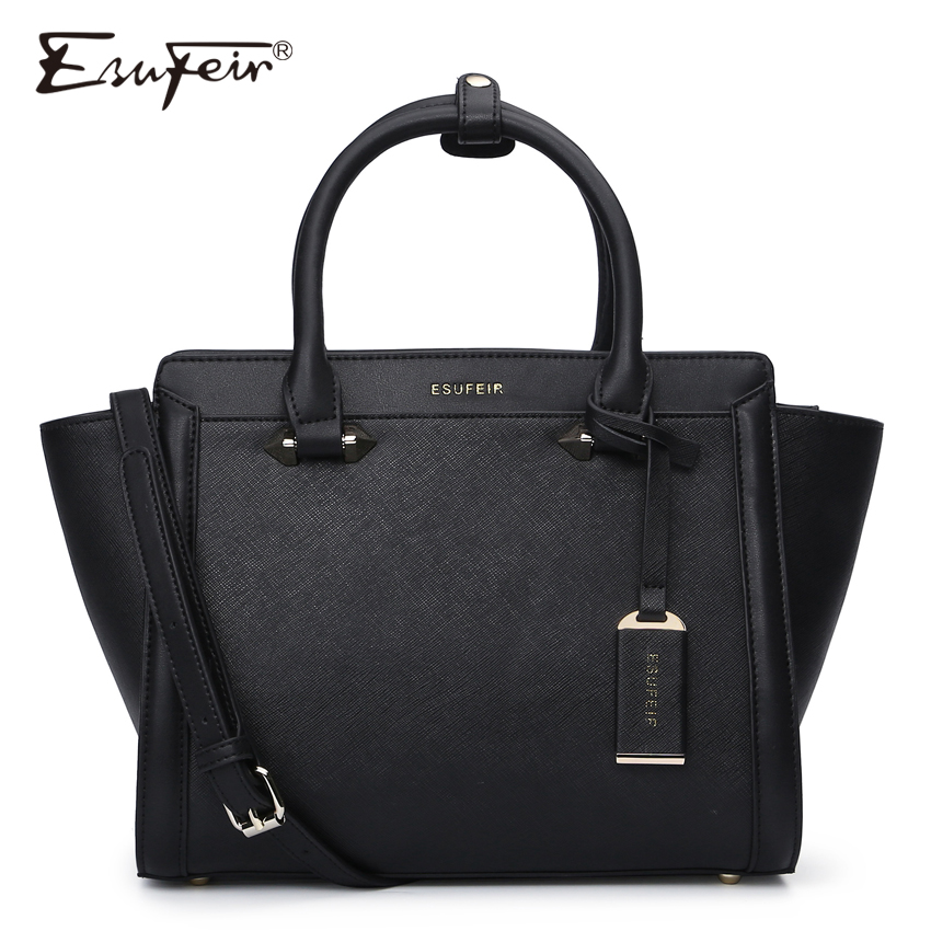 ESUFEIR Brand Genuine Leather Women Handbag Cross Pattern Cow Leather Shoulder Bag Fashion Design Top Handle Trapeze Women Bag ...