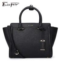 ESUFEIR Brand Genuine Leather Women Handbag Bag Cross Pattern Cow Leather Shoulder Bag Fashion Design Top