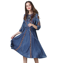 New women dress plus size vintage boho Dress delicate embroidery denim dress ethnic style drawstring dresses plus drawstring side solid tee dress
