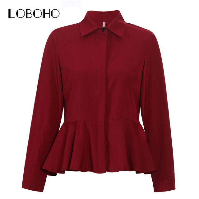 Womens Tops And Blouses Spring 2018 Fashion Collar Long Sleeve Chiffon Blouse White Red Women Ruffles Casual Shirts Peplum Tops