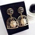 Unique Birdcage Design Dangle Earrings Fashion Jewelry Pearl Earrings for Women 3C4010