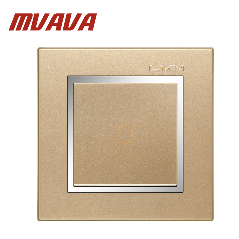 MVAVA Push Bottom Home Office Hotel Gate Doorbell Wall Switch Champagne Gold 220V One Gang  Door Bell Switch Chromed PC Panel MVAVA Push Bottom Home Office Hotel Gate Doorbell Wall Switch Champagne Gold 220V One Gang  Door Bell Switch Chromed PC Panel