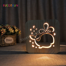 3D Night Light LED USB Wooden Lamp Sleep Warm for Kids Novlety Gift
