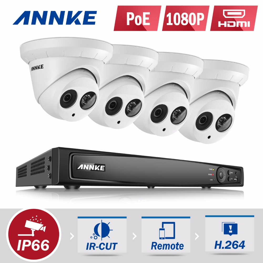 ANNKE 4CH 1080P POE NVR HD CCTV System Set 4PCS 1080P IP Camera P2P Night Vision Security Surveillance Kit Remote View 2pcs kit accessory abs chrome grill grille frame cover for bmw x3 f25 2011 2015