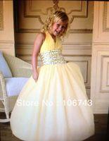 9t3090 free shipping girls, size 14 dresses 2016 white gown Stunning Halter sweet short princess tulle dress Flower Girl Dresses