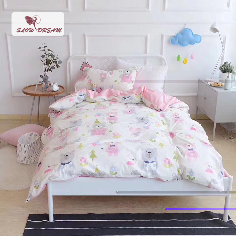 SlowDream Cute Balloon Bear Children Cartoon Bedding Set Kid Duvet Cover Set 100% Cotton Bed Set With Flat sheet 3pcs