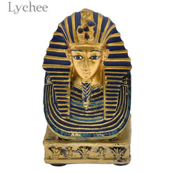 Lychee Vintage Pharaoh King Statue Ancient Egypt King Miniatures Home Living Room Decoration