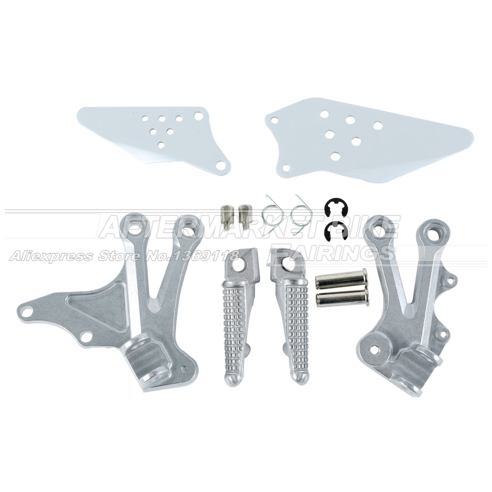 Aluminum Front Rider Footrest For Kawasaki ZX10R 2004 2005 Motorcycle Foot Pegs Set With Bracket Mount
