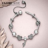 FAHMI 100% стерлингового серебра 925 1:1 ангельские шикарные перья Красивая подвеска любовь вышитый бисером кулон модный браслет подарочный набор