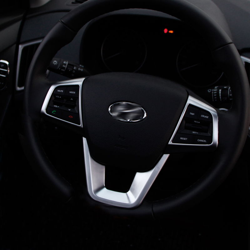 For Hyundai Creta Ix25 2015 2016 2017 2018 ABS Chrome Steering Wheel Decoration Buttons Cover Trim interior Moulding Accessories car door armrest window switch stickers decoration sequins control panel cover lhd for hyundai creta ix25 2015 2016 accessories