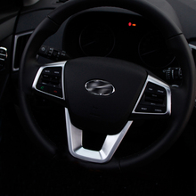 For Hyundai Creta Ix25 2015 2016 2017 2018 ABS Chrome Steering Wheel Decoration Buttons Cover Trim interior Moulding Accessories fit for citroen c5 aircross interior steering wheel moulding sequins abs chrome decoration cover 2pcs