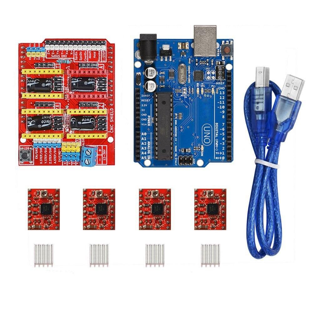 4 x A4988 motor paso a paso con disipador + placa de expansión del escudo del CNC + uno R3 junta para Arduino r3 3D impresora DIY Kit