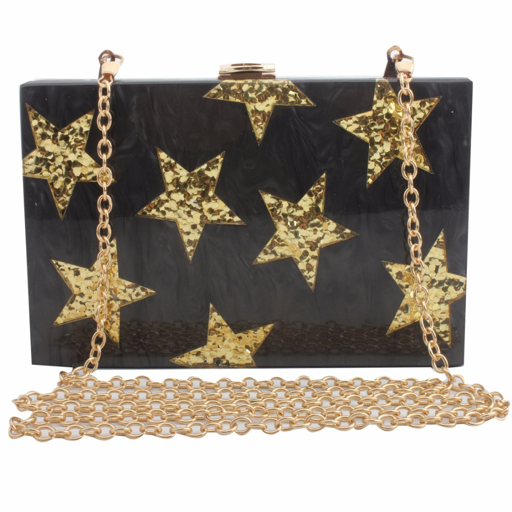 Famous Brand Women Bags Star Acrylic Clutch Evening Bag Purse Wedding Party Chain Wallet Shoulder Bags Handbags bolsa feminina