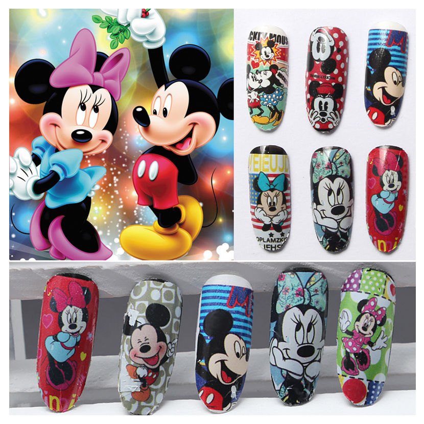 12 styles nail art water transfer sticker decals cute mickey mouse cartoon stickers wraps tips. Black Bedroom Furniture Sets. Home Design Ideas