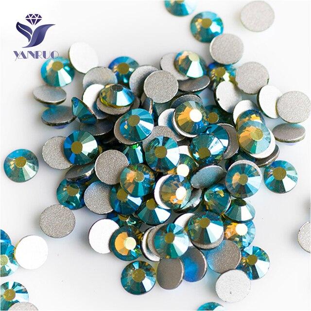 YANRUO 2058NoHF All Sizes Olivine AB Flatback Non Hotfix Rhinestones Glue  On Crystal Strass For Nail 8bf5e1f86976