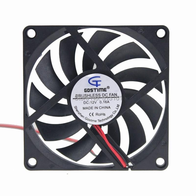 2pcs/lot Gdstime DC 8010 12V Cooler 80*80x10mm 8cm Sleeve Bearing Computer CPU Cooling Fan