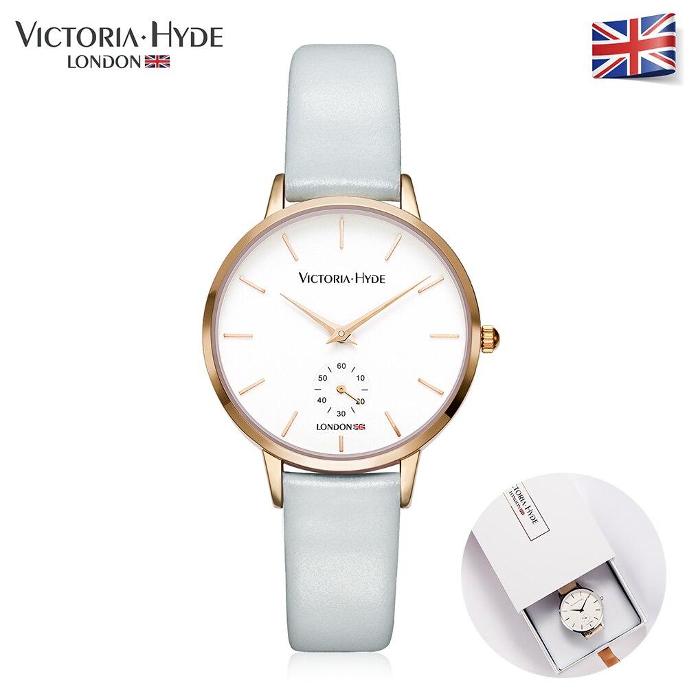 Victoria Hyde mujer relojes marca de lujo banda de cuero de moda vestido de las señoras del cuarzo relojes caja de regalo impermeable