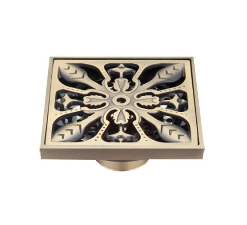 Luxury Antique Brass Flower Floor Drains Bathroom Shower Floor Drain Strainer 3MM -Thick Panel 10*10 cm