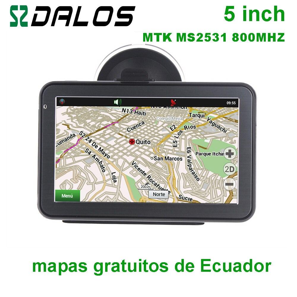 Équateur GPS 5 pouces voiture GPS navigation avec cartes gratuites de l'équateur