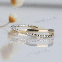 Solid 14k Yellow Gold & White Gold Millgrain Natural Diamonds Lady Engagement Wedding Ring Anniversary Band