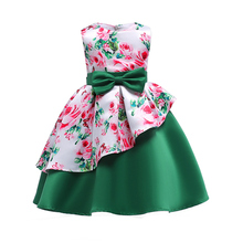 2018 Spring Summer Girls Dress Irregular Floral Print Princess Kids Party Dresses For Prom Gowns Bowknot Children Costumes
