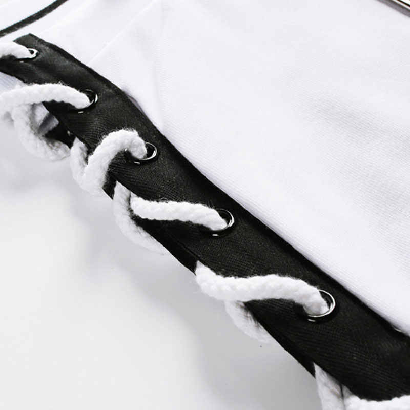 Women Fashion Hollow Tie Side Long Pants Crochet Sexy Casual Loose Trouser White Black Streetwear Hip Hop Lace Up Trouser Female