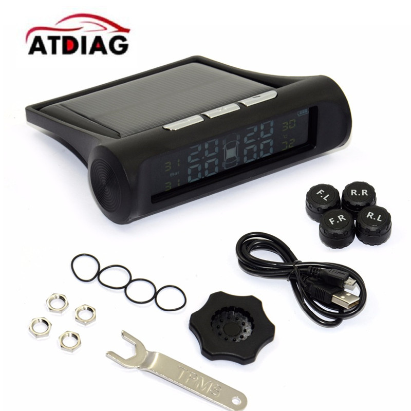 Tire Pressure TPMS Tyre Pressure Monitoring System Solar Power Charging Digital LCD Display Auto Security Alarm Systems
