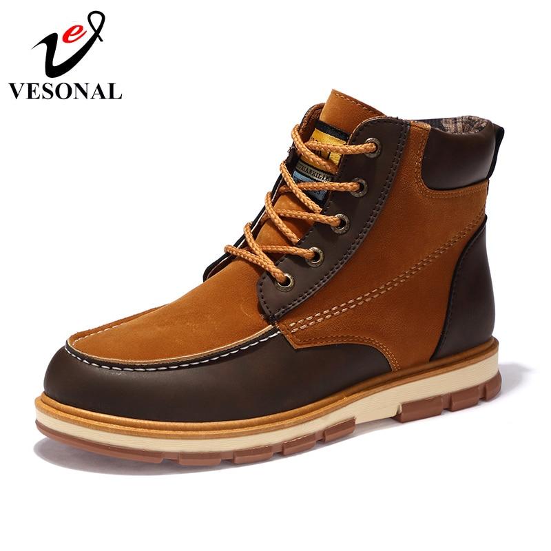 Home Effizient Vesonal Marke Mode Flock Beliebte Stiefel Männlich Für Männer Schuhe Erwachsene 2018 Winter Casual Ankle Lace Up Walking Schuhe G61