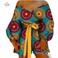 Women Sexy Bow tie Top and Short Pants Sets Bazin Riche African Clothes 2 Pieces Pants Sets Dashiki Women African Clothing WY088